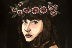 Alexandra with Roses, acrylic on wood, 27%22x10%22, 2018