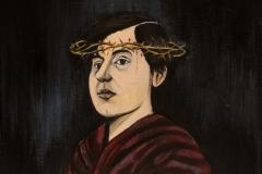 Self Portrait as Martyr, acrylic on canvas, 12x12, 2017