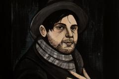 Self-Portrait-as-Poet1,-acrylic-on-wood,-26x12,-2017