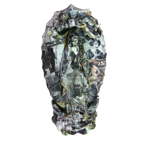 Collage-Saint-Sculpture,-paper-collage-over-Virgin-Mary-Sculpture,-$200.00