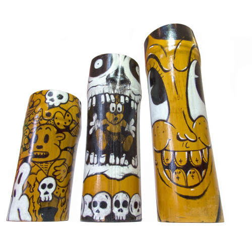 Hand-Painted-Bamboo-Candles,-acrylic-paint-and-paint-marker-on-bamboo-wood-candles,-$150.00