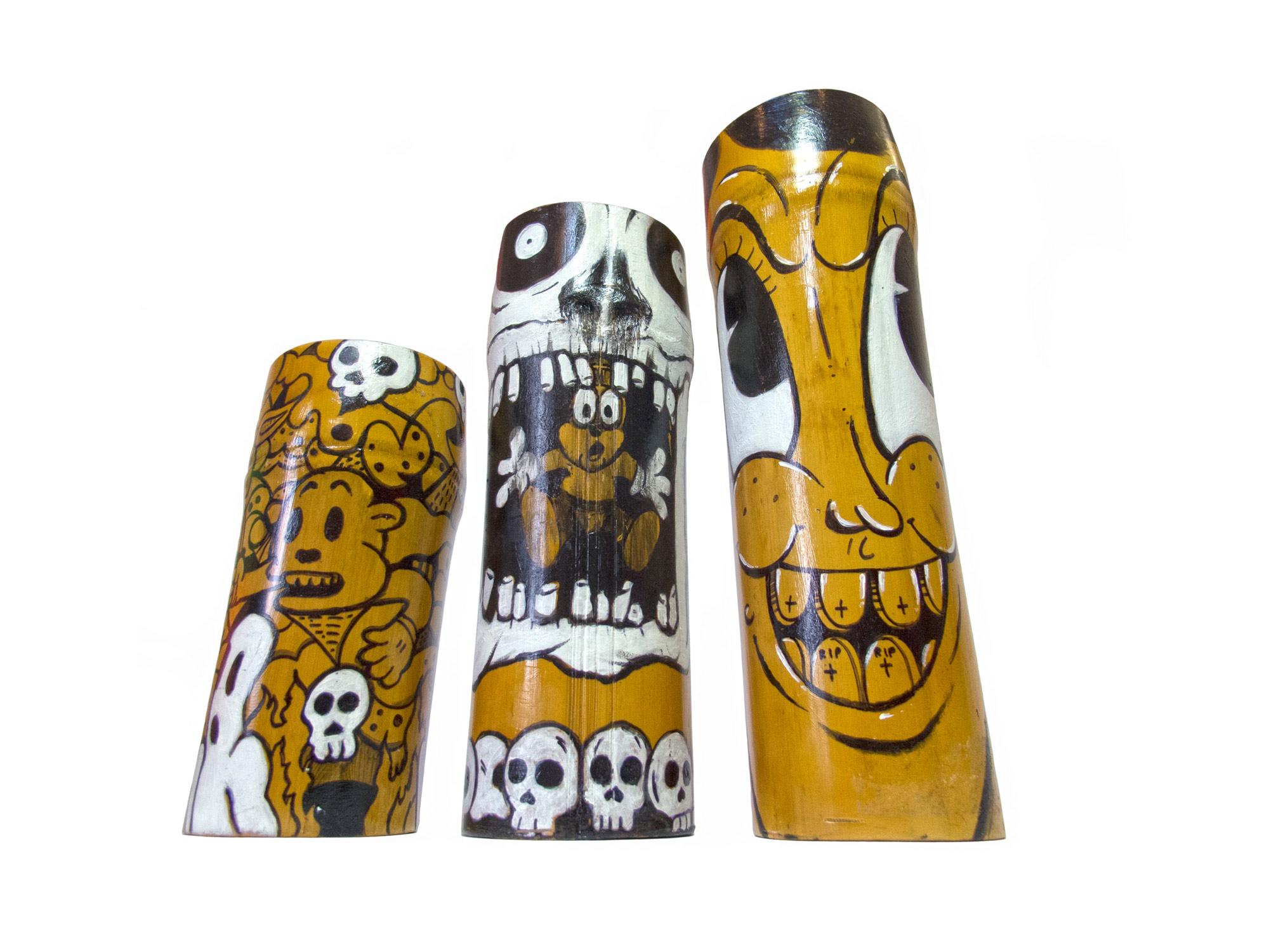 hand painted bamboo candles john de la o